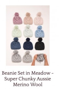 Beanie Set in Meadow - Super Chunky Aussie Merino Wool